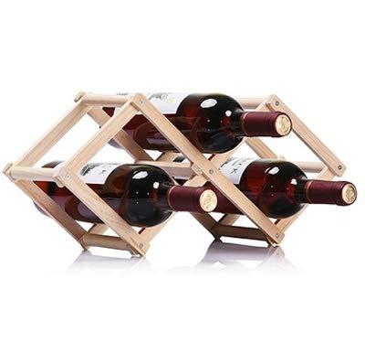 SJYX Estante de exhibición de la Barra de la Cocina de la Barra de la Cocina del Tenedor del Vino de Madera del Soporte del Vino de AYSMG 3 estantes Plegable (hornada del Carbono) (Color : Wood)