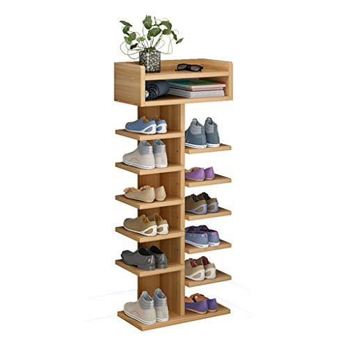 Zapatera Estante for zapatos independiente de entrada Grano de madera Estante for zapatos de múltiples capas, doble fila de almacenamiento, diseño multifuncional, con capacidad for 12 pares de zapatos