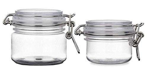 VASANA 2PCS 120G/200G(4oz/7oz) Empty Refill Round Clear PET Plastic Air Tight Sealed Food Storage Container Bottle Jars Cosmetic Makeup Facial Body Pack Cream Lotion Pot with Locking Canister Lids