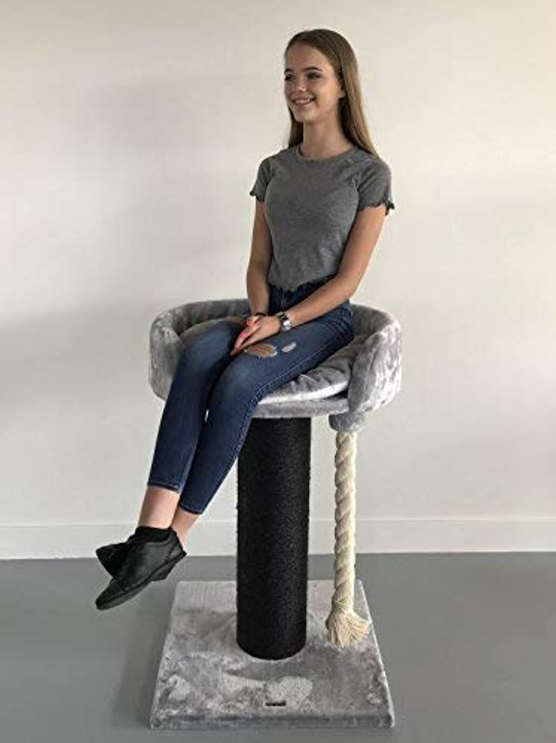 RHRQuality Cat tree for large cats Chartreux Blackline Light Grey XXL extra big breed trees scratch post and adult towers furniture scratcher activity centre