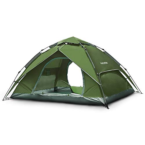 Pop Up Tent 4 Man Tent106.3x106.3x59.1inch 2-in-1 Automatic Hexagonal Dome Tent Camping Tent 210D Oxford PU 3000mm Waterproof Anti-mosquito/wind/cold/sun for Hiking Beach Fishing Picnic (Army green)