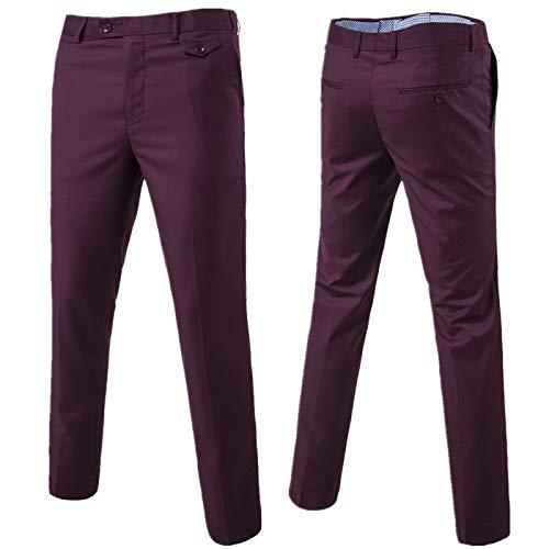 Pantalones Casuales de Talla Grande para Hombre Moda Color sólido Simplicidad Trabajo de Oficina Pantalones Rectos básicos con botón y Tapeta con Cremallera XL