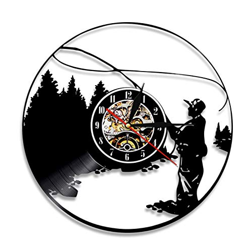 Reloj de Pared con Disco de Vinilo para IR a Pescar, Reloj de Pared Creativo Vintage para Hombre de Pesca, Reloj de Gancho de Pesca silencioso, Regalo de Pescadores