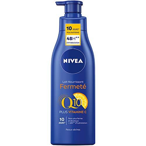 NIVEA Q10 + Vitamine C Lait Nourrissant Fermeté (1 x 250 ml), Lait hydratant raffermissant enrichi en Q10 et Vitamine C, Lait nourrissant intensément les peaux sèches