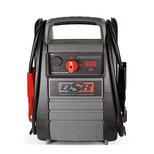 Schumacher DSR ProSeries Rechargeable Pro Jump Starter - 12V - Works with Gas and Diesel Vehicles - Includes DC/USB Power for Charging Phones and Tablets Plus 400W Power Inverter, Newer Model