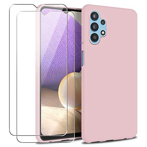 Funda para Samsung Galaxy A32 4G con Dos Cristal Templado Protector de Pantalla, Rose Suave Líquido Silicona Protectora Carcasa Samsung Galaxy A32 4G, 6.4