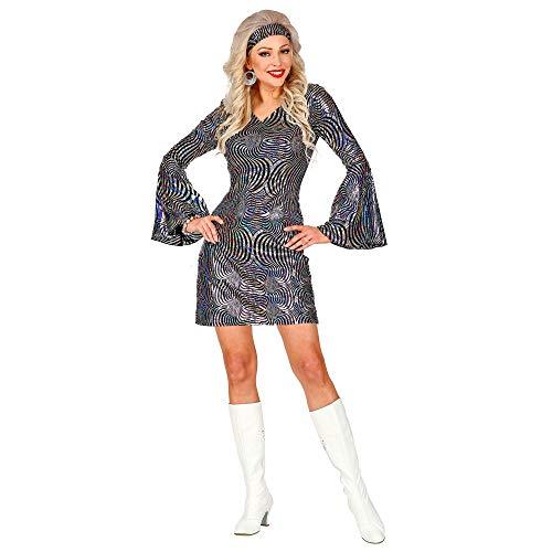 WIDMANN 04992 70er Jahre Disco Kleid, Damen, Schwarz/Silber, M