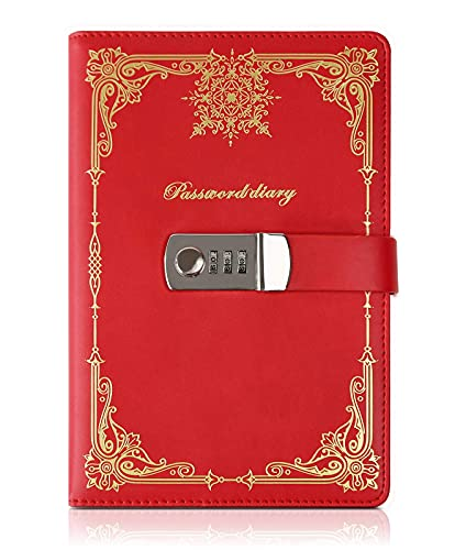 KaiRuiYing Diary with Lock for Women, A5 Locked Diary for Boys/Girls, Diaries with Locks on Them, Leather Locked Journals with Pen Holder, Diary with Password Lock,Personal Locking Diary for Kids Gift