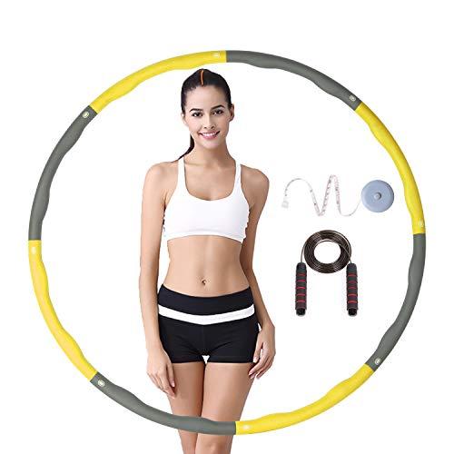 LEBEMPEL Hula Hoop Reifen Fitness,Abnehmbarer Teile zum Breite Einstellen 72-95cm Schaumstoff Gepolster Fitness/BüRo/Bauchformung,mit Springseil und Maßband (Gelb+Grau)