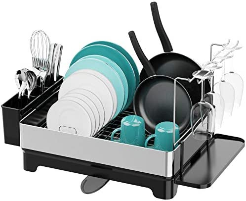 Dish Drying Rack Veckle Stainless Steel Dish Rack with Drain Board Utensil Holder Wine Glass product image