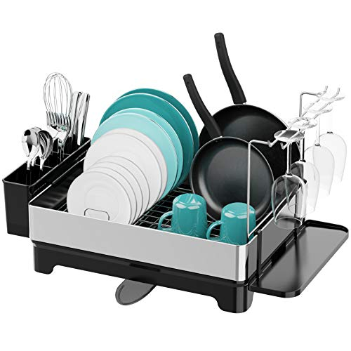 Dish Drying Rack Veckle Stainless Steel Dish Rack with Drain Board Utensil Holder Wine Glass Holder Dish Drainer for Kitchen Countertop Silver