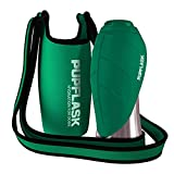 Dog Water Bottle Holder and PupFlask Portable Water Bottle - 27oz, Green