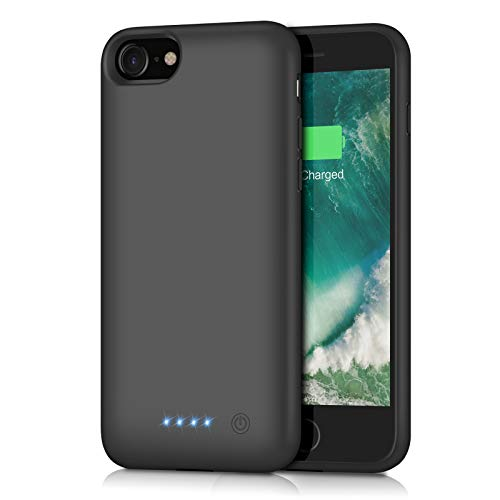 Battery case for iPhone 8/7, Xooparc [6000mah] Upgraded Charging Case Protective Portable Charger Case Rechargeable Extended Battery Pack for Apple iPhone 7/8(4.7') Backup Power Bank Cover (Black)