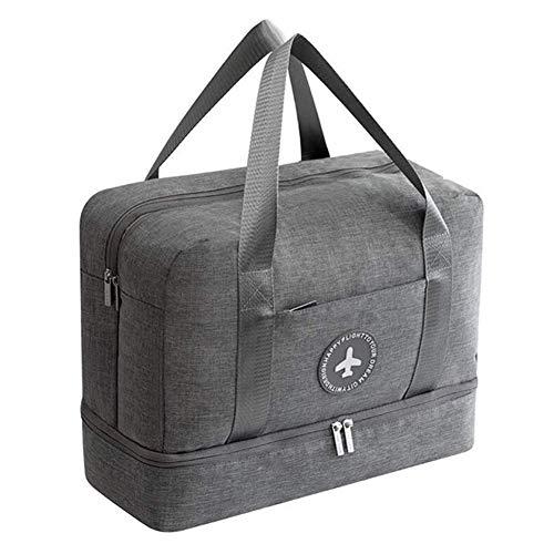 Young & Ming Impermeable Bolsa de Deporte con Compartimento para Zapatos Bolsa de Gimnasio Grande Bolsa de Viaje Bolsa Fin de Semana para Hombre/Mujer, 20L-Gris