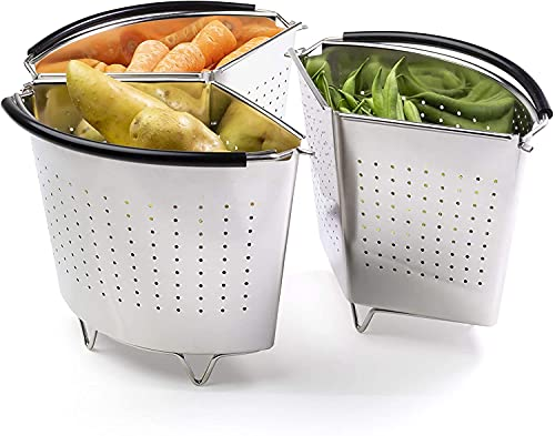 Stacking Steaming Baskets with Feet - Pressure Cooker Insert & Saucepan Divider with Feet. Removable Parts for Cooking Food Separately. Stainless Steel. for Vegetables & Pasta.