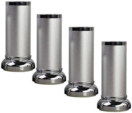 SHOP YJX Patas para muebles, patas de mesa de té de aluminio, altura ajustable arriba y abajo, capacidad de carga de 800 kg, accesorios para muebles de bricolaje, 4 piezas (color: plata, tamaño: 8 cm)