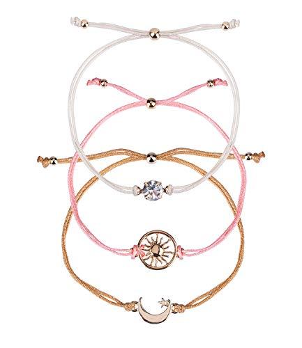 SIX 3er Set Damen Armbänder, Armschmuck, Anhänger, Strassstein, Halbmond, Stern, Kreis, Sonne, beige, rosa, goldfarben (782-230)