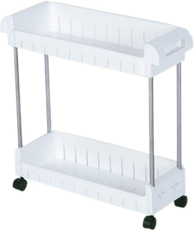 HUYP Wheeled Mobile Toilet Bathroom Shelf Storage Rack Kitchen Sandwich Finishing Rack (Size   S)