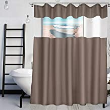 VCVCOO Top See Through Fabric Shower Curtain with Sheer Voile Window Allow Privacy,Brown Shower Curtain Let Light in for Bathroom Washable 72x72 Inch