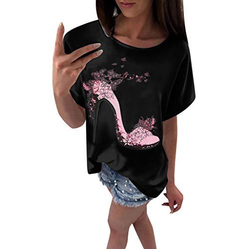OVERDOSE Frauen Kurzarm Blumen Pumps Gedruckt Tops Strand Beiläufige Lose Bluse Top T-Shirt (EU-42/CN-XL, X-e-schwarz)