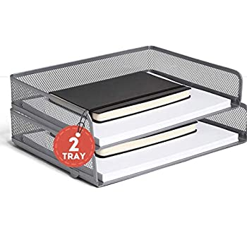 1InTheHome Stackable Side Load Letter Tray Silver Wire Metal Mesh Paper Tray Organizer  2 Trays