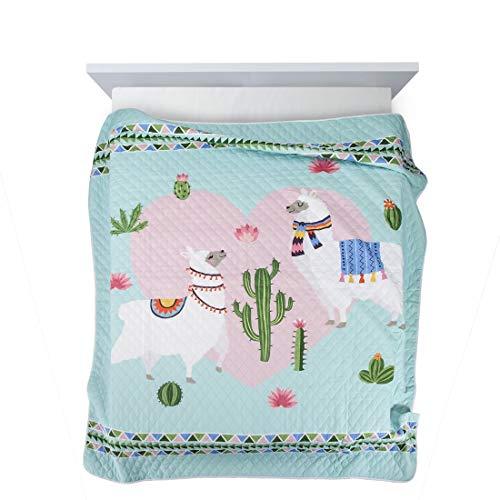 Design91 Tagesdecke zum Kinderzimmer, Kinderdecke, Bunte Decke, Bettüberwurf für Kinder, Bettdecke Größe: 170X210 cm, Für: Mädchen und Jungen (LAMA)