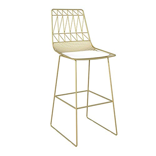 WJT-Barstool Bar Chair Golden Modern Simple Iron High Bench Bar Chair Golden Stool Dining Chair Size: 56×48×107/118cm (Color : Gold, Size : 65cm)