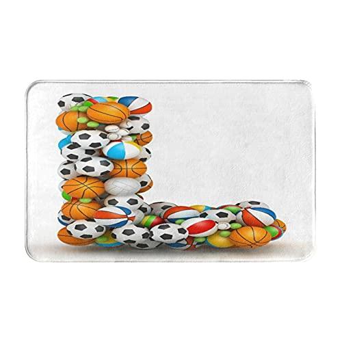 Marutuki Alfombra Decorativa para el Baño,Letra L, Baloncesto Fútbol Voleibol Tenis Atletismo Equipo Motivación Tema,Alfombra de Baño Suave Antideslizante Micro Felpa,80 x 49 cm