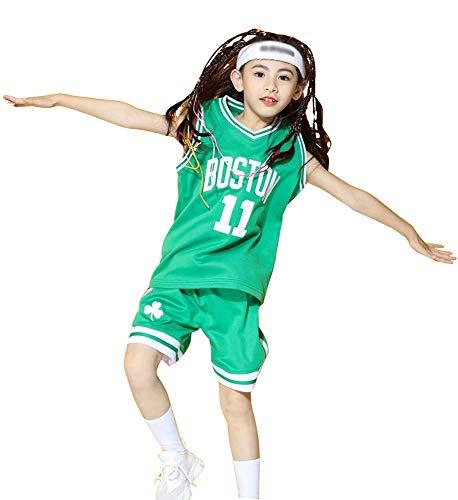 Irving Celtics # 11 Bestickte Basketballtrikots, Top und Shorts 2-teiliges Set Westentraining Unisex Youth Sleeveless Sports Vest Children's-Cyan-XXXS
