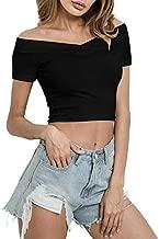 Crop Tops for Women, Basic Top Short Sleeve Scoop Neck Crop Sexy Tee Shirt Blouse (Black, Medium)