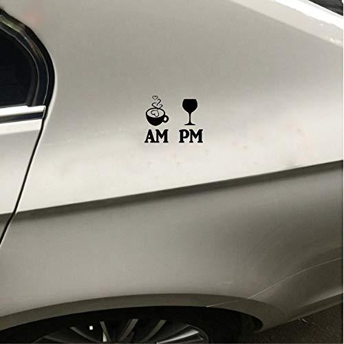 De Auto Aufkleber 13,2 Cm x 10,5 Cm Fröhlich Bin Kaffee Pm Wein Auto Aufkleber De für Auto Laptop Fenster Aufkleber