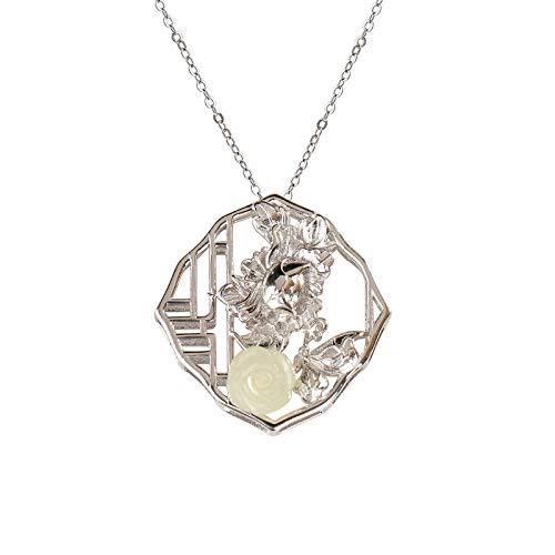 THTHT 925 Sterling Silber Halskette Frauen Retro Fenster Lotus Pfingstrose Reich Modische Einfachen Chinesischen Stil Charme Männer Geben Freundin Geschenk