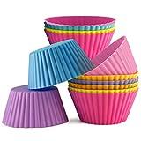 Moldes de silicona para magdalenas, 12 unidades, reutilizables, flexibles, antiadherentes, tamaño estándar, aptos para horno, lavavajillas, congelador y microondas, 6 colores vibrantes, 2 de cada uno