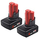 TenMore M12 5.0Ah Replacement Battery Compatible with Milwaukee M12 12V Cordless Drill 48-11-2450 48-11-2420,2-Pack