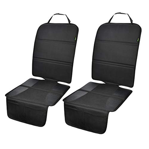 Car Seat Protector, 2 Pack Auto Seat Protectors for Child Car Seat with Thick Padding, Seat Cover Mat for Under Baby Seat to Protect Leather Seats, Black