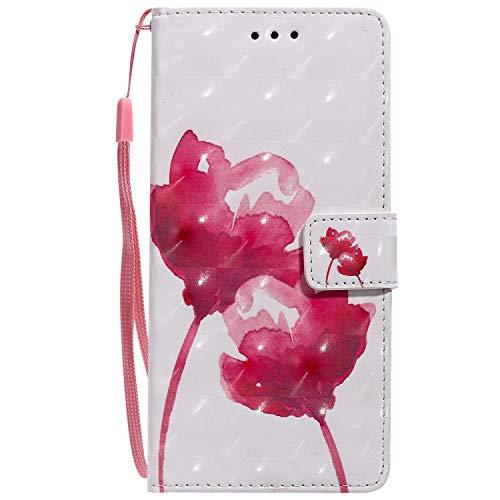 Sunrive Hülle Für Lenovo Moto G4 Play, Magnetisch Schaltfläche Ledertasche Schutzhülle Etui Leder Hülle Cover Handyhülle Tasche Schalen Lederhülle MEHRWEG(W16 Rote Rose)