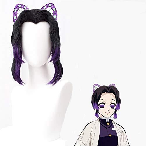 SL Anime Wig for Kochou Shinobu Cosplay for Demon Slayer Characters Cosplay Wigs with Cap