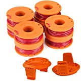 "TOPEMAI WA0010 Replacement Trimmer Spool Line 0.065"" for Worx WG154 WG163 WG160 WG180 WG175 WG155 WG151 String Trimmer Weed Eater (8 Spools, 2 Caps)"