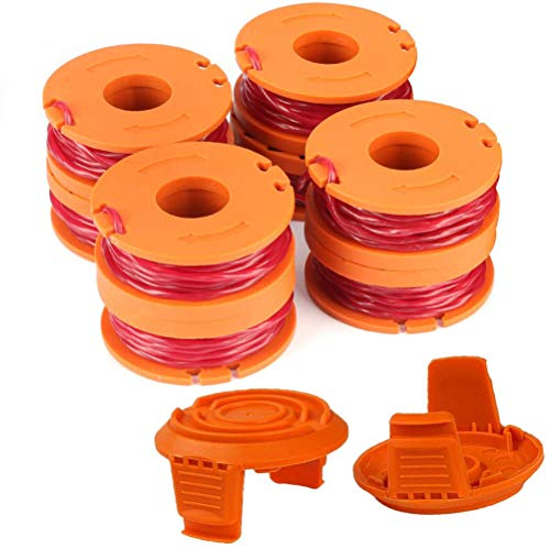 """TOPEMAI WA0010 Replacement Trimmer Spool Line 0.065"""" for Worx WG154 WG163 WG160 WG180 WG175 WG155 WG151 String Trimmer Weed Eater (8 Spools, 2 Caps)"""