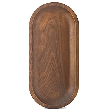 Bamber Wood Serving Tray, Whole-piece Black Walnut Made, Oval, 12.6 x 5.9 Inches