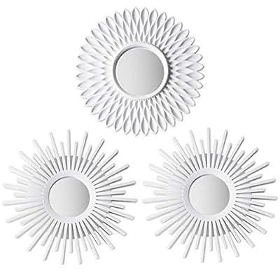 🤍 IDEALES PARA COLGAR EN PARED 🤍 Cada uno de los tres espejos de color blanco tienen un pequeño cáncamo para que puedan ser colgados en una pared. Son resistentes ya que la parte exterior es de plástico y amortigua mejor la parte interior de cristal ...