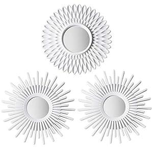 Espejos Pared Decorativos Blancos Pack 3 - BONNYCO   Espejos Decorativos Ideales para Decoracion Casa, Habitación y Salón   Espejos Redondos Pared Regalos Originales para Mujer   Decoracion Pared