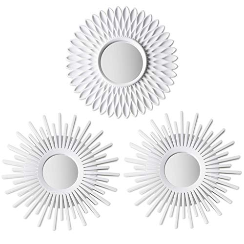 BONNYCO Espejos Pared Decorativos Blancos Pack 3 Espejos Decorativos Ideales para Decoracion Casa,...