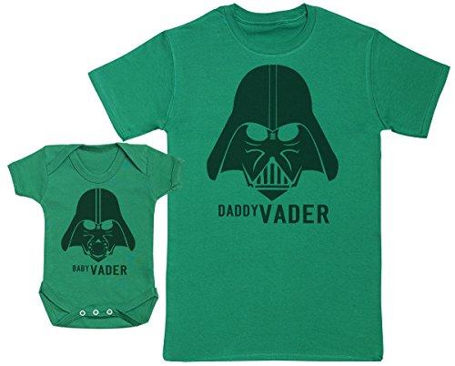 Zarlivia Clothing Baby Vader & Daddy Vader - Ensemble Père Bébé Cadeau - Hommes T-Shirt & Body bébé - Vert - XX-Large & 0-3 Mois