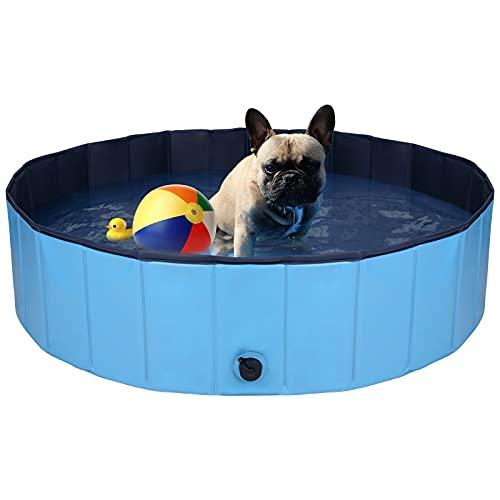 QNINE - Piscina per cani di piccola taglia, 80 x 20 cm, in PVC, per esterni, pieghevole, per animali domestici o bambini, per bambini