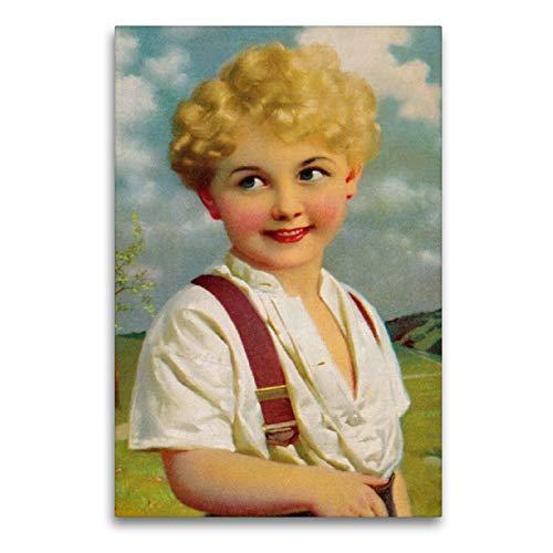 Premium Textil-Leinwand 60 x 90 cm Hoch-Format Blonder Junge   Wandbild, HD-Bild auf Keilrahmen, Fertigbild auf hochwertigem Vlies, Leinwanddruck von Pferdografen - Martina Berg + Antje Lindert-Rottke