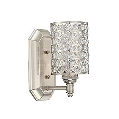 Doraimi 1 Light Crystal Wall Sconce Lighting with Brushed Nickel Finish,Modern and Concise Style Wall Light Fixture with Polyhedral Opal Crystal Shade for Bath Room, Bed Room, LED Bulb(not Include)