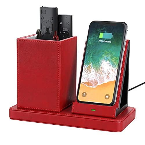 ALUNVA Cajas de Almacenamiento de diseño y Soporte de bolígrafo con Soporte de Carga inalámbrica para Cargo por teléfono móvil FQYXLX (Color : Red)