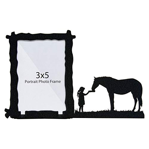 Innovative Fabricators, Inc. Girl Feeding Horse 3X5 Vertical Picture Frame