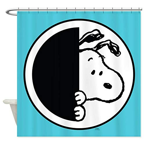 AdaCrazy Cartoon Snoopy Hintergrundmuster Duschvorhang 3D-Druck Wasserdicht beschichtetes Bad aus Polyestergewebe mit 12 Haken 71 Zoll
